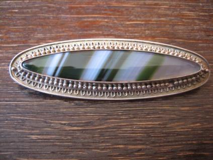 Art Deco Brosche 935er Silber grüner Achat Toni Riik Kunstgewerbliche Werkstätte
