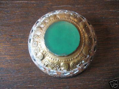 antike Brosche Holz Achat grün Scheibenbrosche Buckelbrosche Wikinger Thule 1920