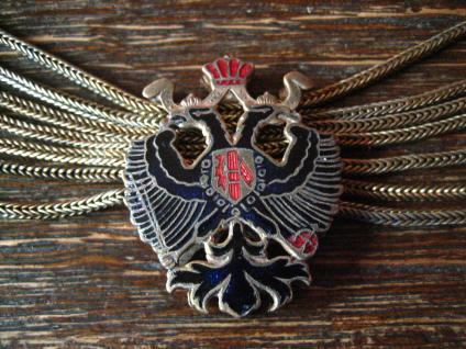 antike Uhrenkette Charivari Chatelaine Adel Wappen Habsburg Lothringen Emaille - Vorschau 3