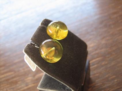 Traum in Giftgrün Ohrringe Stecker seltener grüner Bernstein 925er Silber grün - Vorschau 3