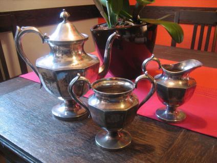 Teeservice 3teilig Teekanne Milchkännchen Zuckertopf silber pl aussergewöhnlich