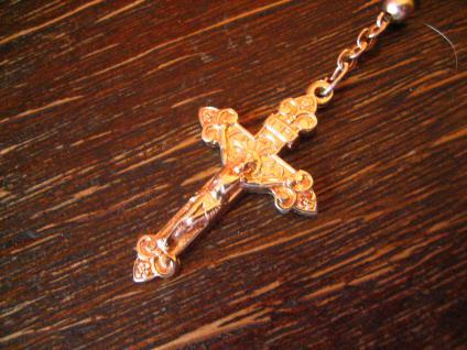 schöner antiker Rosenrkanz silber Herz Kreuz Silberkugeln versilbert 20er Jahre - Vorschau 2