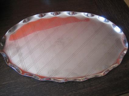 edles Silbertablett Sherry Tablett oval dekoratives Muster Edelstahl silber