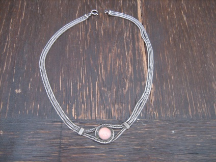 zeitlos elegantes wunderschönes Art Deco Collier 835er Silber Rosenquarz Kette B