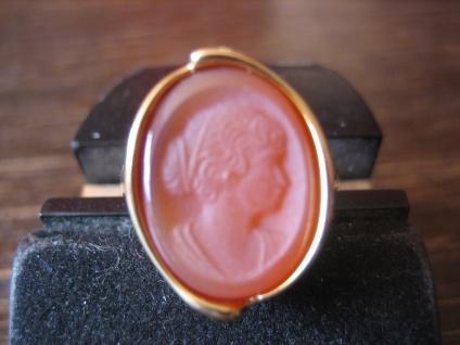 repräsentativer Ring hochfeine Carneol Gemme Cameo Kamee 925er Silber gold RG 52