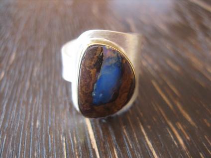 exquisiter Herrenring Boulder Opal Ring Opalring 925er Silber RG 60 - 61 Unikat