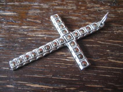 edler schlichter Art Deco Kreuz Anhänger 835er Silber Markasit zeitlos elegant - Vorschau 2