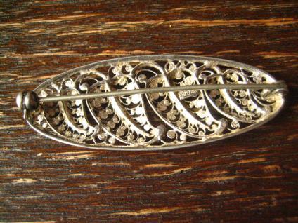 dekorative florale Blatt Brosche feine Durchbrucharbeit 835er Silber filigran - Vorschau 3