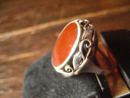super schöner Art Deco Ring Carneol Goldschmiede Handarbeit 900er Silber RG 58