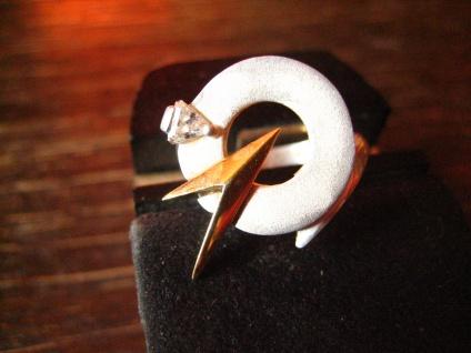 dynamischer Vintage Designer Ring 80er Jahre Silber gold Zirkon rasante Optik