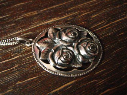 reizender Jugendstil Anhänger Rosen Rose an 925er Silber Kette Tracht Dirndl - Vorschau 3