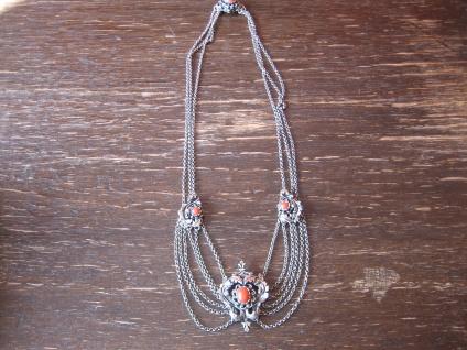 prächtige Kropfkette Trachten Kette Collier Dirndl 835er Silber Rote Koralle