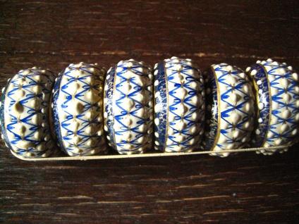 6 Stück bezaubernde Serviettenringe Kunsthandwerk Holz von Hand bemalt blau weiß