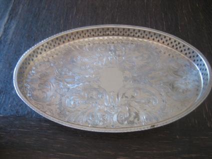 prächtiges Silbertablett Galerietablett Tablett silber pl oval 34 cm England