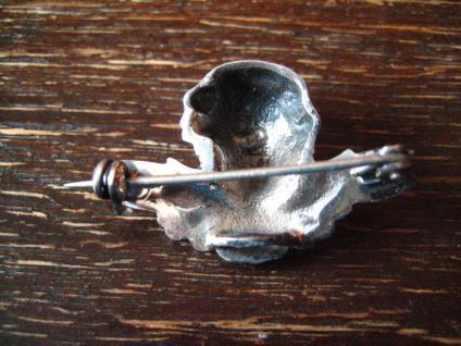 reizende antike Brosche Engel Putto Kopf Schutzengel 925er Silber plastisch - Vorschau 4