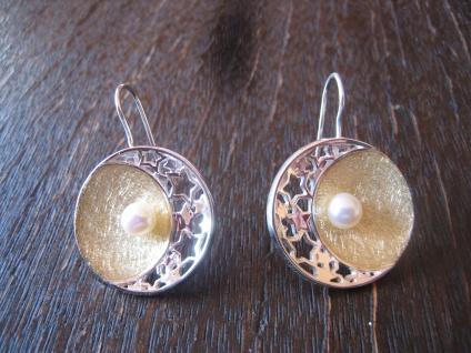 Statement Ohrringe Hänger Mond Halbmond Sterne Stern Perle 925er Silber gold NEU
