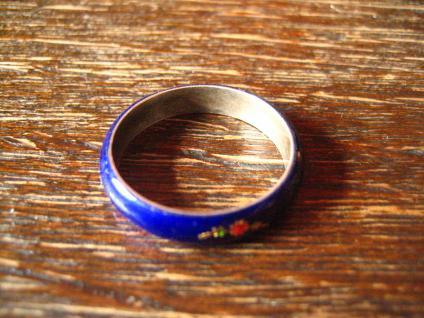 bezaubernder Vintage Ring Freundschaftsring Emaille bemalt 925er Silber RG 57 - Vorschau 3