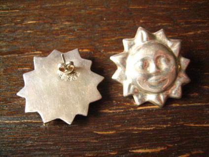 prächtige große Designer Ohrringe Sonne 925er Silber Stecker - Vorschau 2