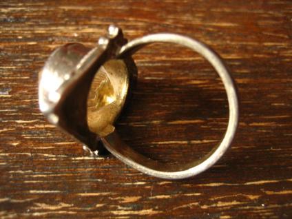 sehr schöner Art Deco Ring Citrin gelb 925er Silber Handarbeit Unikat RG 60 19 mm - Vorschau 4