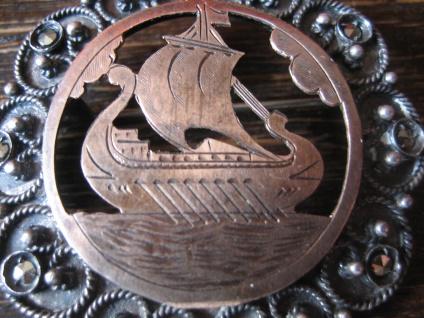 prächtige antike Wikinger Brosche Drachenboot Wikingerschiff Silber Rotgold - Vorschau 2