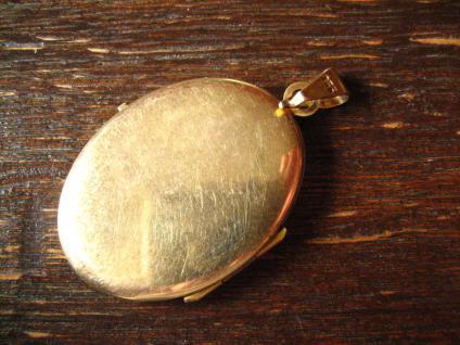 klassisches Jugendstil Medallion Anhänger mit Wappen verziert 835er Silber gold - Vorschau 4
