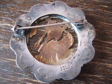 prächtige antike Wikinger Brosche Drachenboot Wikingerschiff Silber Rotgold - Vorschau 4