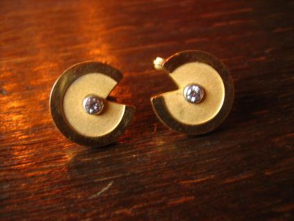 prächtige 80er Jahre Vintage Designer Manschettenknöpfe gold Zirkonia sehr edel