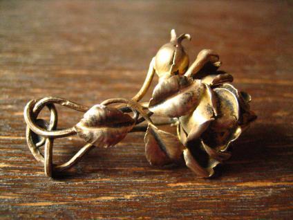 aufwändige antike Rosen Brosche Rose vollplastisch 800er Silber vergoldet gold - Vorschau 3