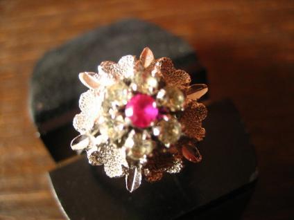 prächtiger 70er Jahre Designer Ring Weißgold Optik Rubin 925er Silber rhodiniert - Vorschau 2