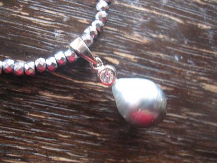 Designer Anhänger 925er Silber Tahitiperle Tahiti Perle grau 10 - 11 mm an Kette