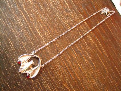 herrliches Jugendstil Collier Fledermaus 925er Silber Granat Anhänger Kette NEU - Vorschau 3