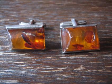 klassische Art Deco Bernstein Amber Manschettenknöpfe Cufflinks 835er Silber