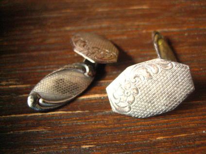 edle Art Deco Manschettenknöpfe 835er Silber feines florales Muster sehr elegant - Vorschau 2