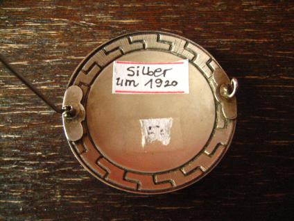 einmalig schöne Art Deco Emaille Brosche Mäander lila 935er Silber Skandinavien - Vorschau 3