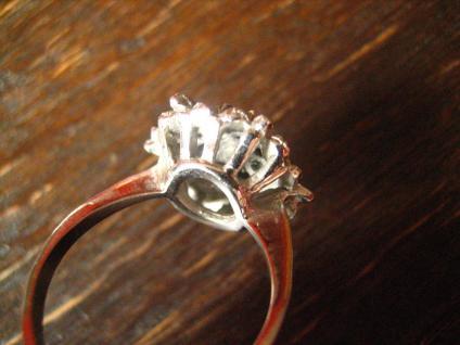 prächtiger 70er Jahre Designer Ring Weißgold Optik Rubin 925er Silber rhodiniert - Vorschau 5