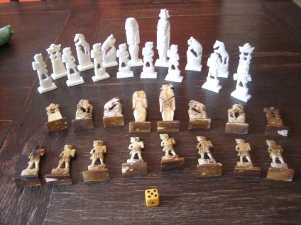 Prächtige vintage Schachfiguren Ägypten aufwändig geschnitzt ägpytische Motive - Vorschau 1