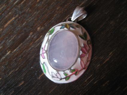 zauberhafter Vintage Anhänger Rosenquarz Emaille emailliert 925er Silber