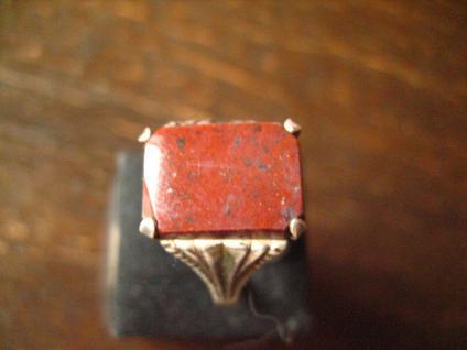 klassischer feiner Art Deco Ring Siegelring Jaspis 835er Silber 18 mm RG 57 - Vorschau 4