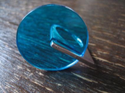 witziger skulpturaler Statement Ring 925er Silber Acryl Scheibe blau NEU RG 52