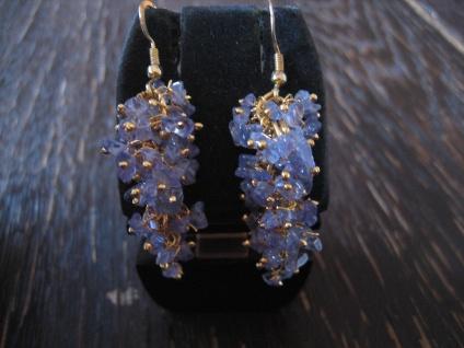 edle Ohrringe Hänger blauer Tansanit 925 Silber gold blau bewegliche Trauben NEU