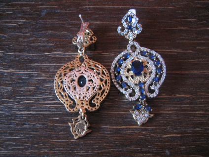 Kronjuwelen gesucht ? üppige Ohrringe Barock Stil 925er Silber gold saphir blau - Vorschau 4