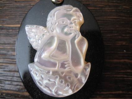 reizender Cameo Kamee Anhänger Onyx Perlmutt liegender Putto Engel Putte Silber - Vorschau 2