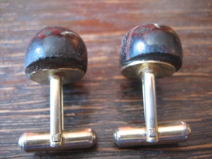 seltene vintage Manschettenknöpfe Edelstein schwarz braun - schimmernde Streifen - Vorschau 3