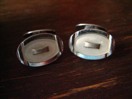 zeitlos elegante Art Deco Manschettenknöpfe oval Perlmutt Einlage silber Chrom