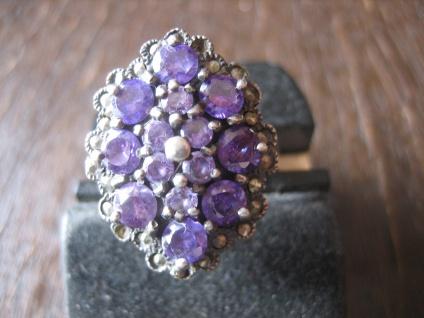 Traum in Violett! Üppiger Vintage Designer Ring Amethyst Markasit 925er Silber