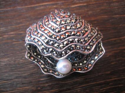 prächtige Art Deco Markasit Brosche Muschel Perle 925er Silber in TOP Erhaltung