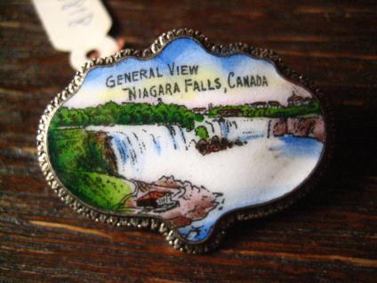 Souvenir Jugendstil Brosche Niagarafälle Emaille Emailliert Niagara Falls selten