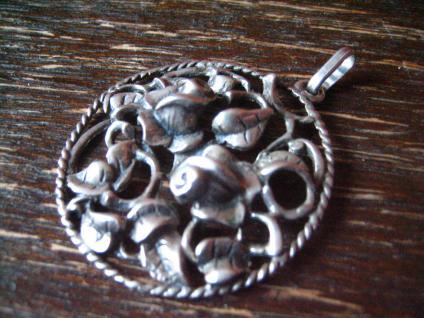 reizender antiker Rosen Anhänger Rose plastisch 835er Silber Tracht Dirndl 3 cm - Vorschau 2