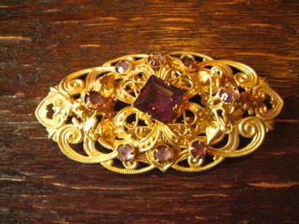 reizende Vintage Strass Brosche Alt Gablonz gold fliederfarbene Strass Steine