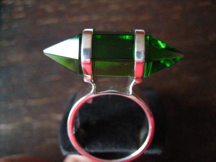 Traum Statement Designer Ring turmalin grün 925er Silber grüner Obsidian RG 60 - Vorschau 2